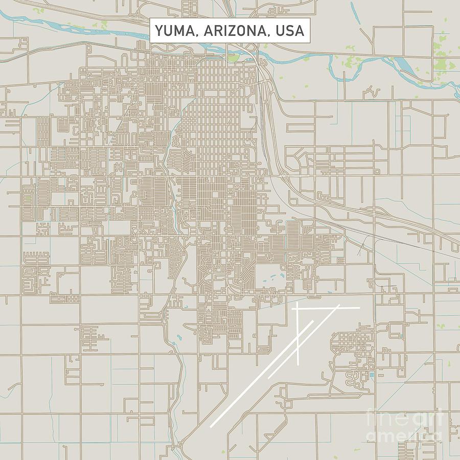 Street Map Of Yuma Arizona.Yuma Arizona Us City Street Map