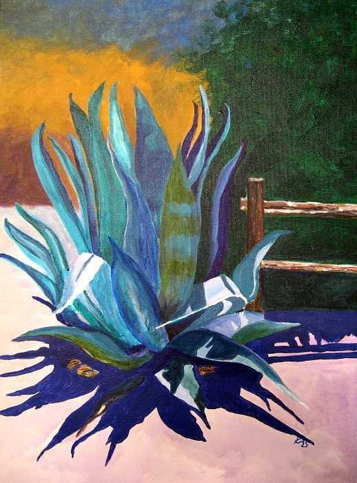 Southwest Painting - Yvon Street Agave by Kitty Schwartz