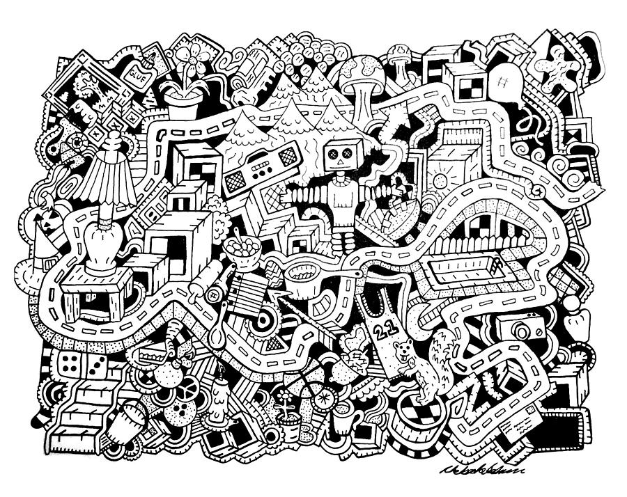 Random Objects Drawing - Z Squirrel by Chelsea Geldean