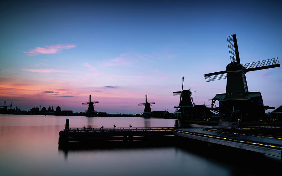 The Netherlands Photograph - Zaanse Schans Silhouettes by Framing Places