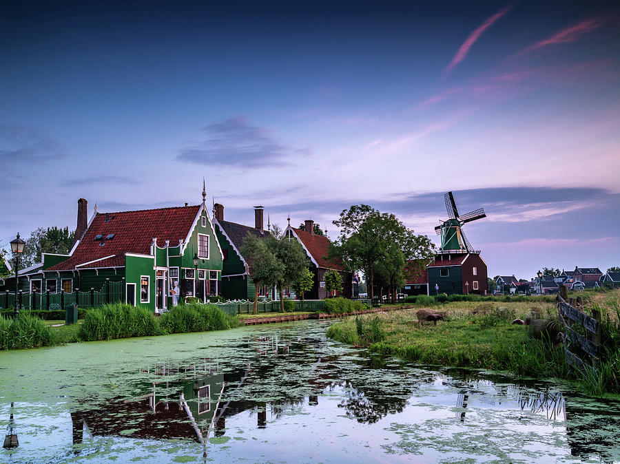 The Netherlands Photograph - Zaanse Schans Village at Dusk by Framing Places