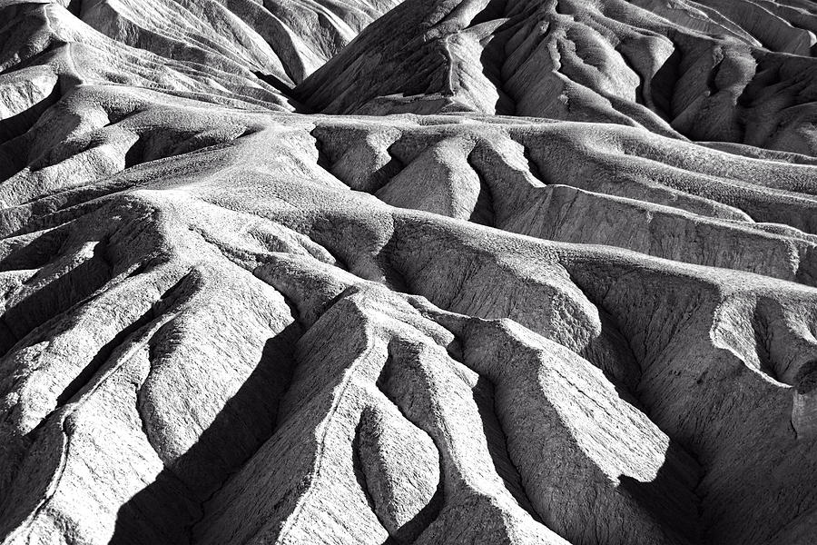 Zabriskie Point Badlands Black and White by Jim Moss
