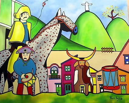 Zabumba Meu Boi Painting by THAIS IBANEZ  Tropical Art