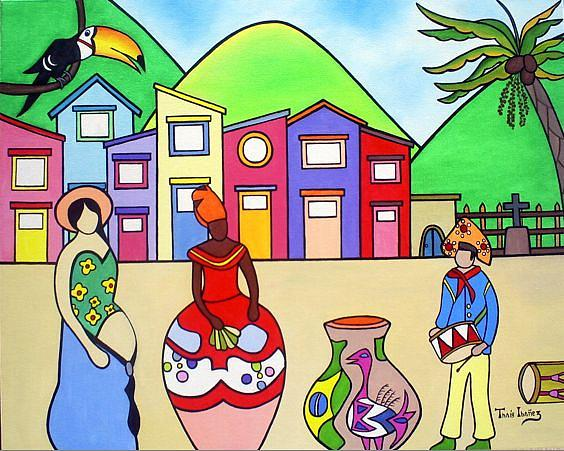 Zabumbendo Na Vila Painting by THAIS IBANEZ  Tropical Art