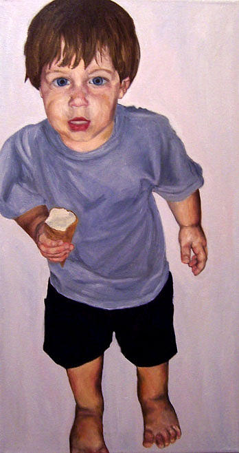 Child Painting - Zachary F With Ice Cream by Marianne Devine
