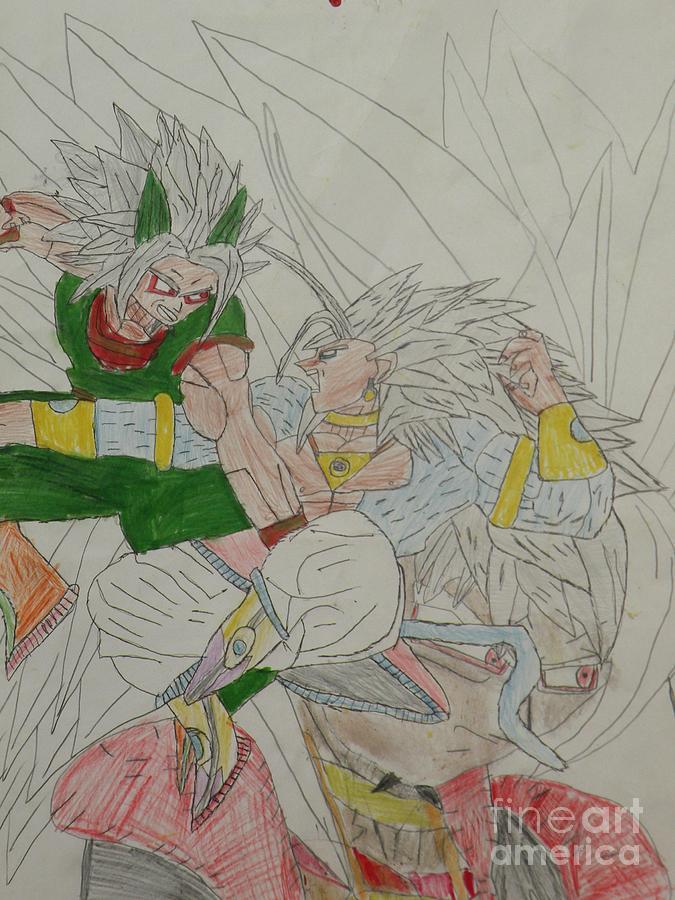 Zaiko Vs Super Saiyan 5 Broly Drawing By Brandon Forney