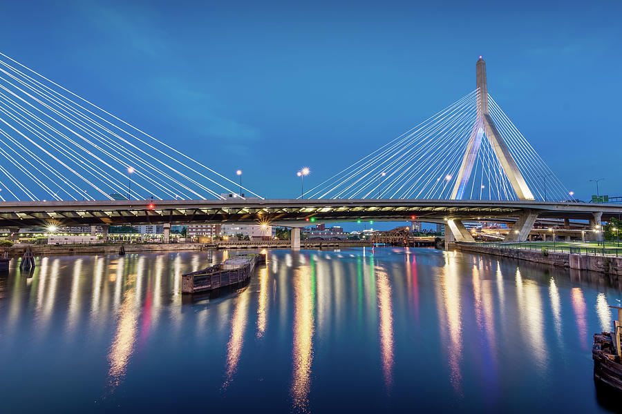 Zakim Bridge and Charles River at Dawn by Val Black Russian Tourchin