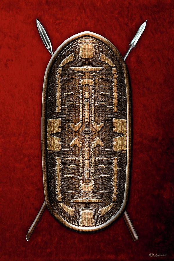 Zande War Shield With Spears On Red Velvet Digital Art By