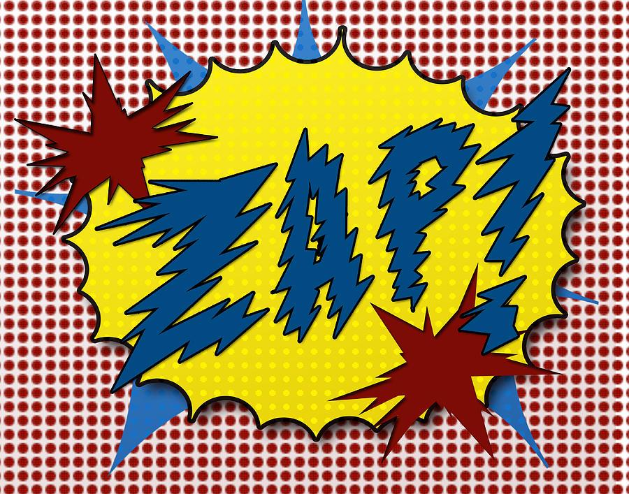 Sound Digital Art - Zap Pop Art by Suzanne Barber