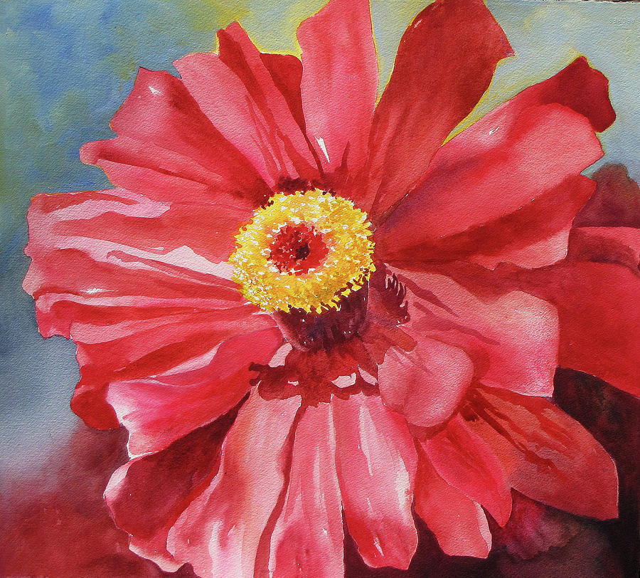 Floral Painting - Zappie Zinnia by Mary Blumberg