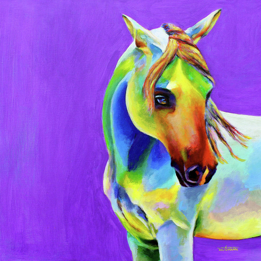 Horse Painting - Zasha by Arleana Holtzmann