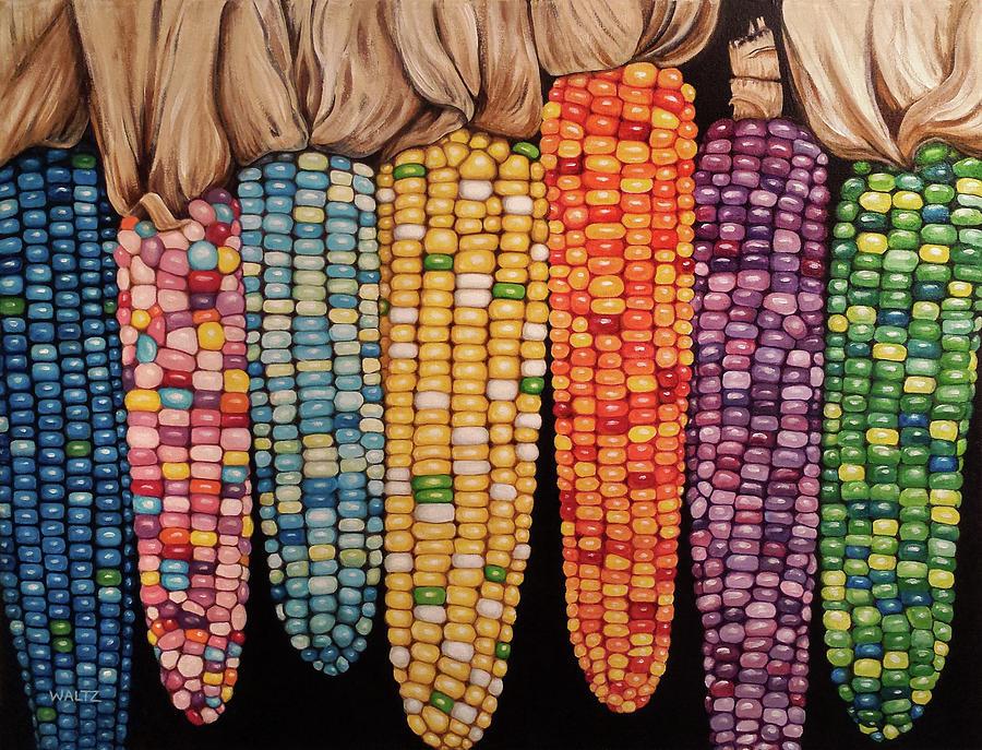 Zea Mays Glass Gem Corn Painting By Beth Waltz