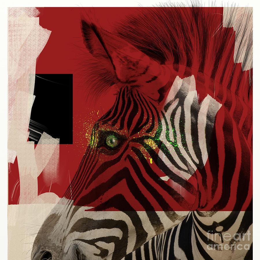 Zebra Digital Art - Zebra 4.0 by Nola Lee Kelsey