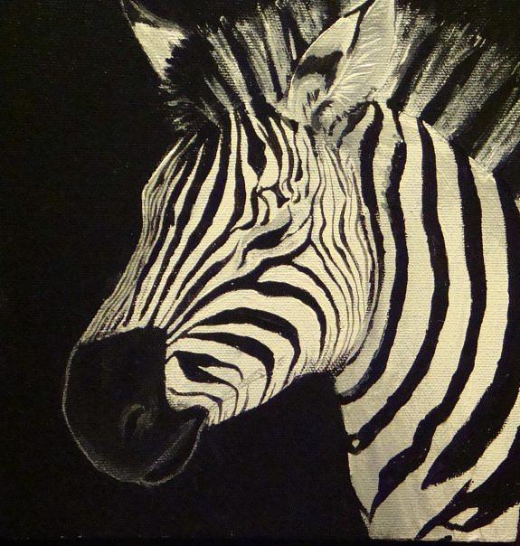 Zebra Head Painting - Zebra  by Annelisa Fischer