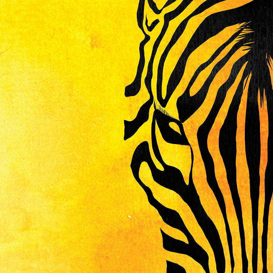 Zebra Animal Yellow Decorative Poster 3 - By Diana Van Painting by ...