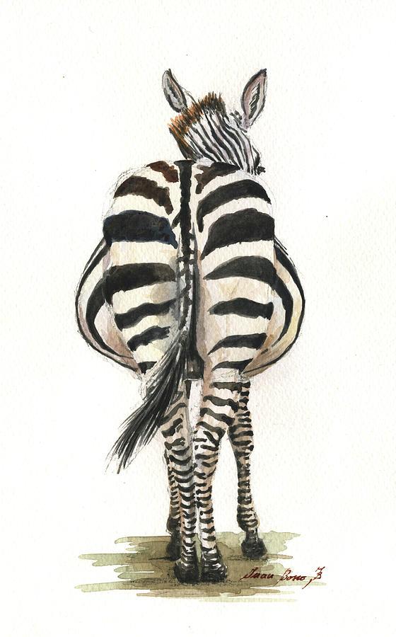 Zebra Drawing Painting - Zebra Back by Juan Bosco