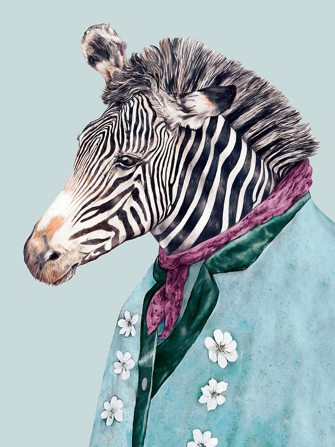 Zebra Painting - Zebra Blue by Animal Crew