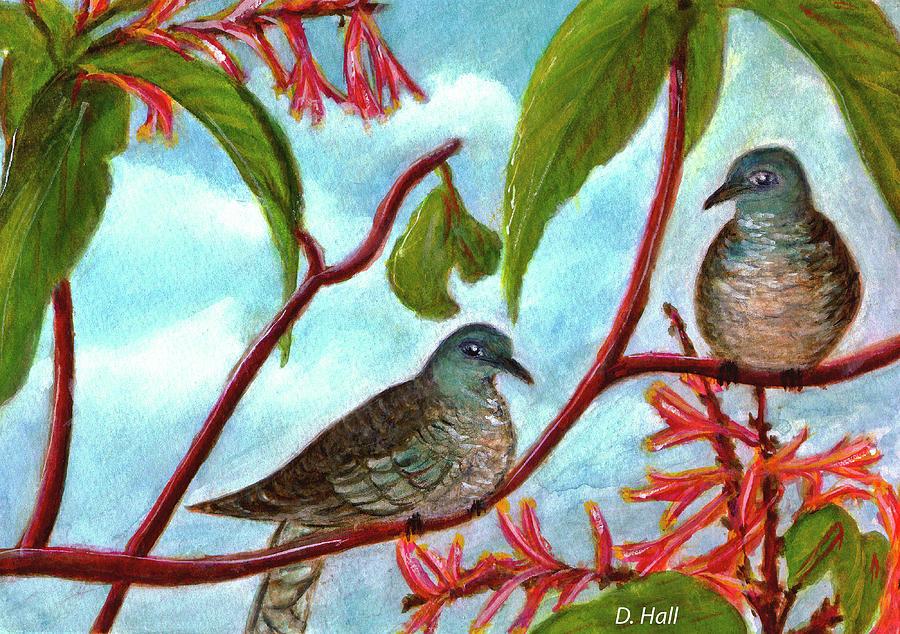 Zebra Dove Painting - Zebra Doves Or Barred Dove Birds #309 by Donald k Hall