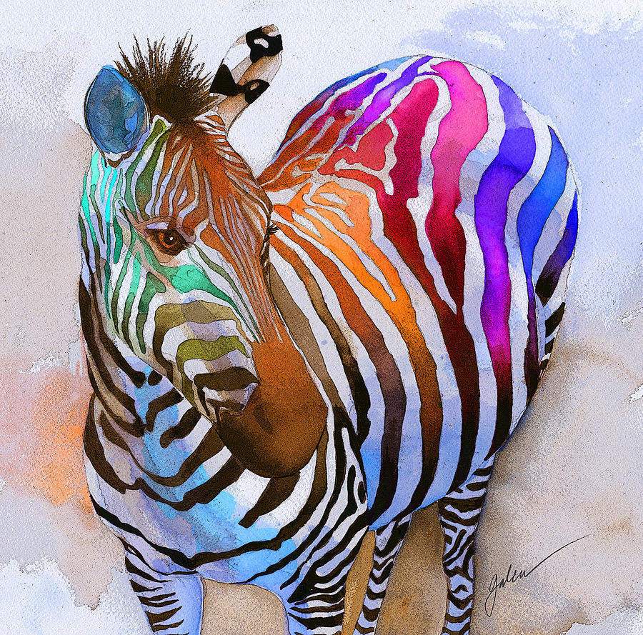 Colorful Painting - Zebra Dreams by Galen Hazelhofer