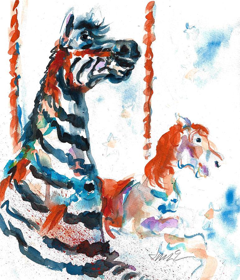 Ocean City Boardwalk Painting - Zebra Gets A Ride The Ocean City Boardwalk Carousel by Jacki Kellum