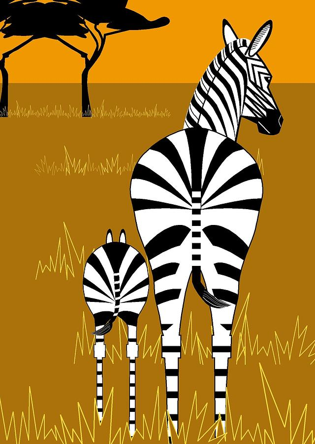 Zebra Mare with Baby by Marie Sansone