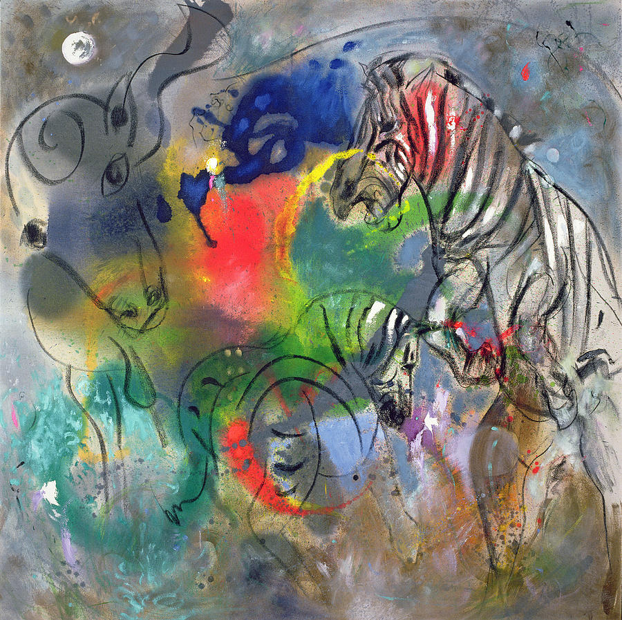 Abstract; Rearing; Aggression Painting - Zebra Mares by Jane Deakin