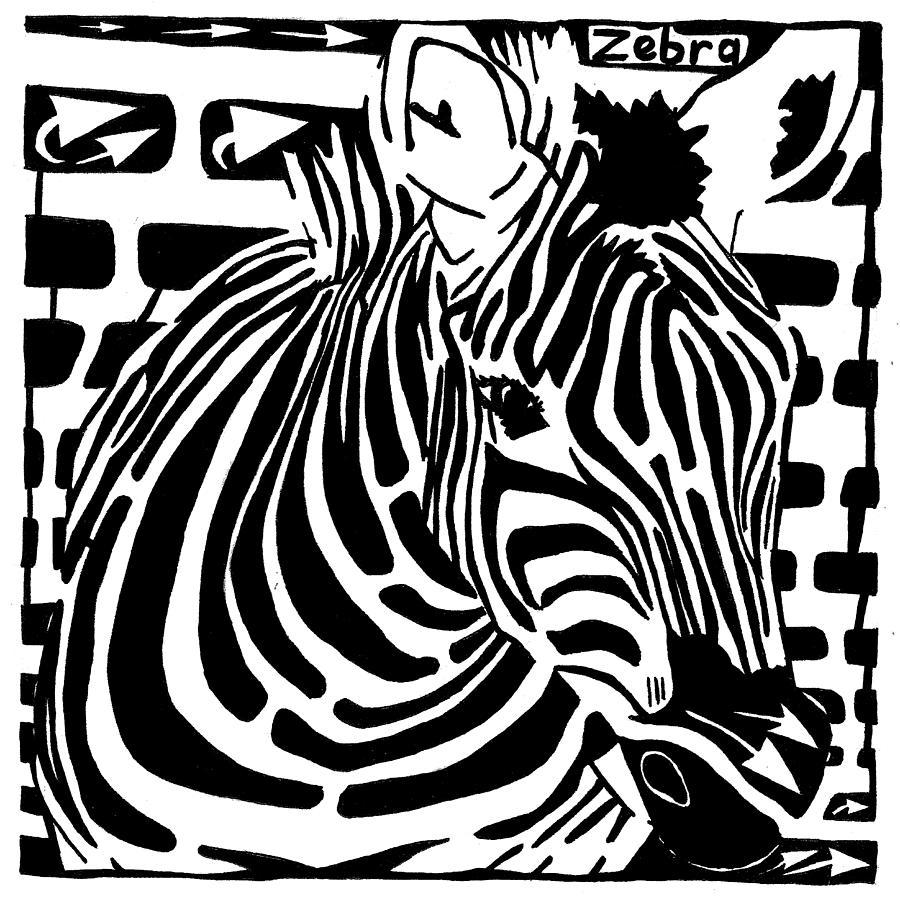 Zebra Drawing - Zebra Maze by Yonatan Frimer Maze Artist