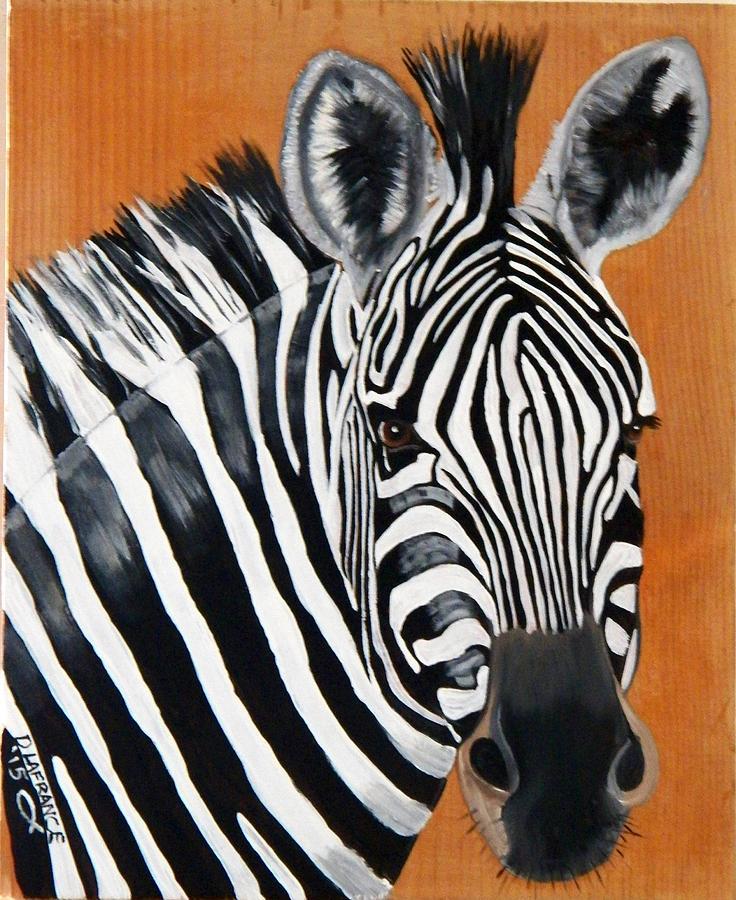 Zebra On Wood Painting