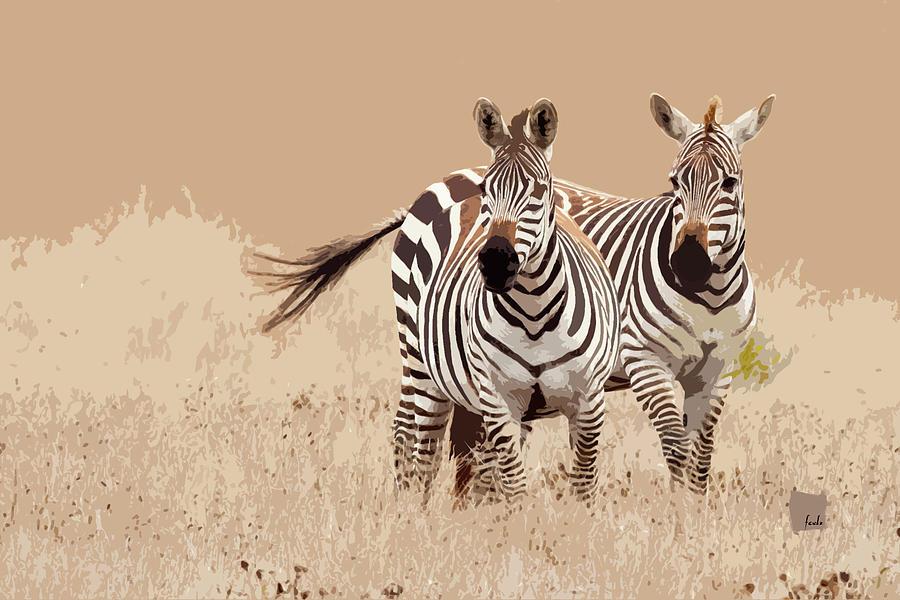 Two Digital Art - Zebra Pair by Sharon Foelz
