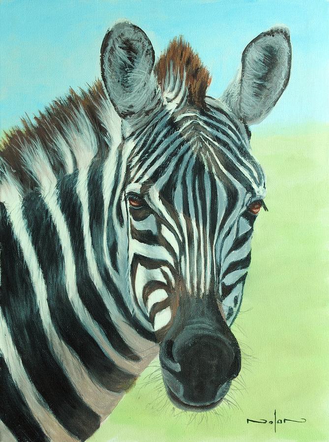 Acrylic Painting - Zebra Portrait by Nolan Clark