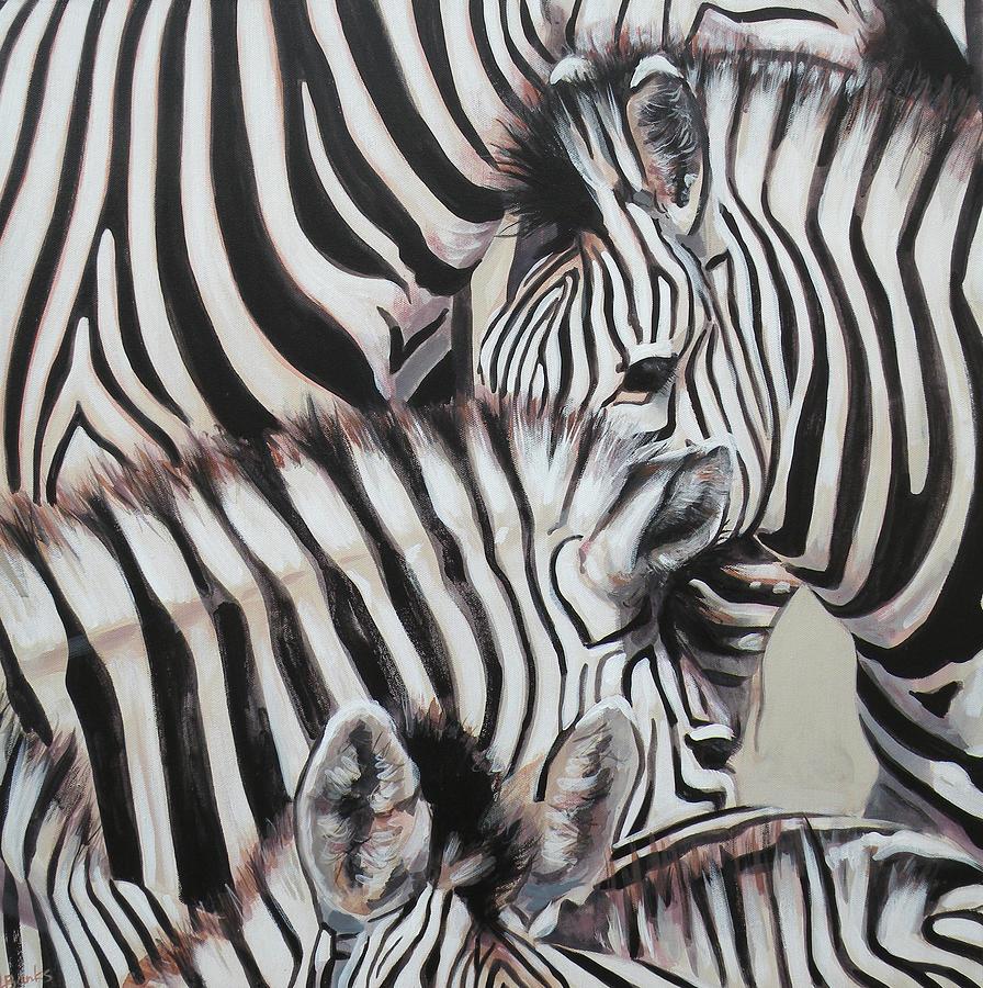 Zebra Painting - Zebra Triptyche left by Leigh Banks