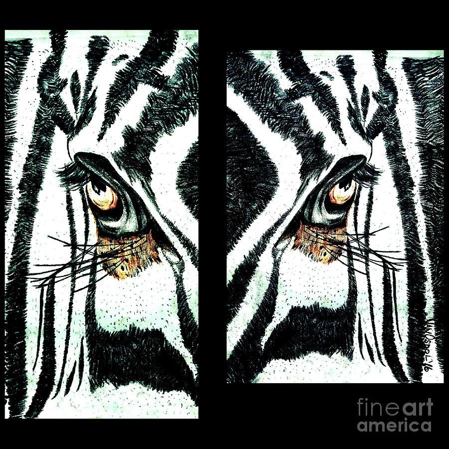 Zebra Digital Art - Zebras Eye - Studio Abstract  by Scott D Van Osdol