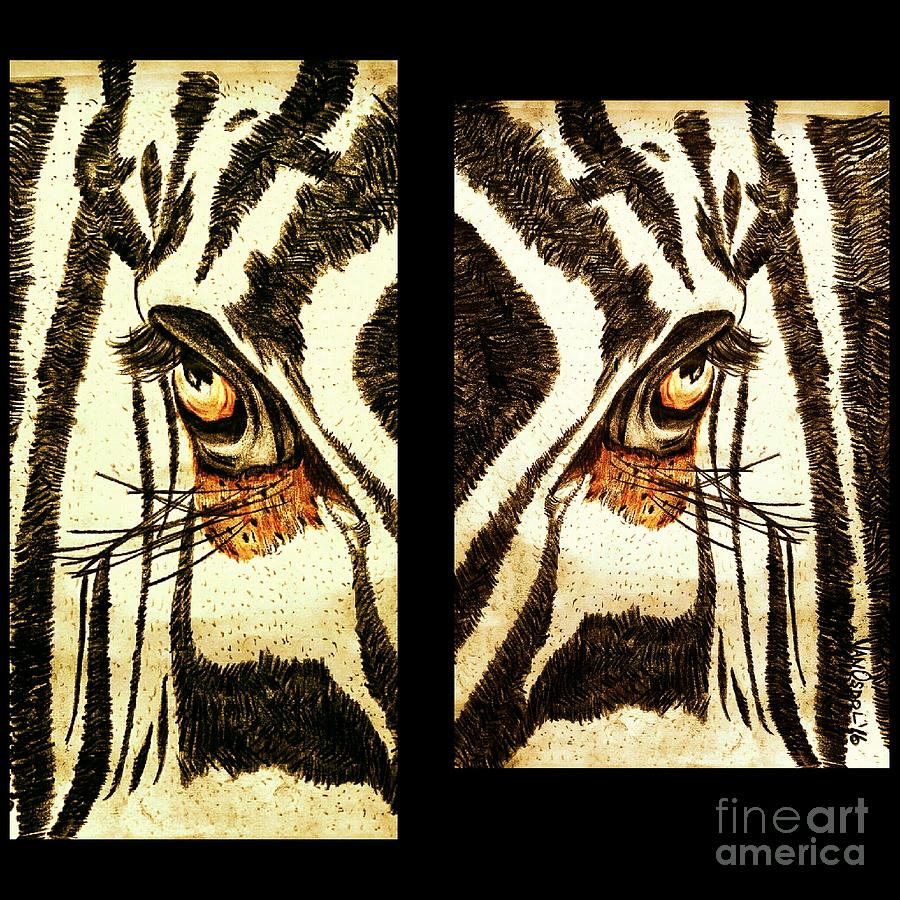 Zebra Digital Art - Zebras Eye - Studio Abstract Sepia by Scott D Van Osdol