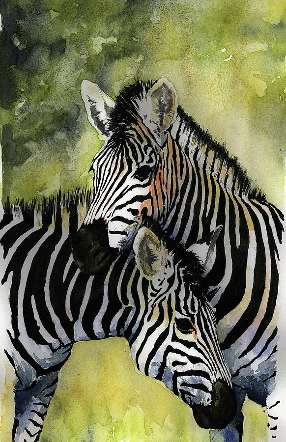 Zebras Painting By Roger Bonnick