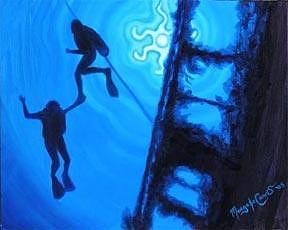 Surreal Painting - Zen Divers by Margo Cavis