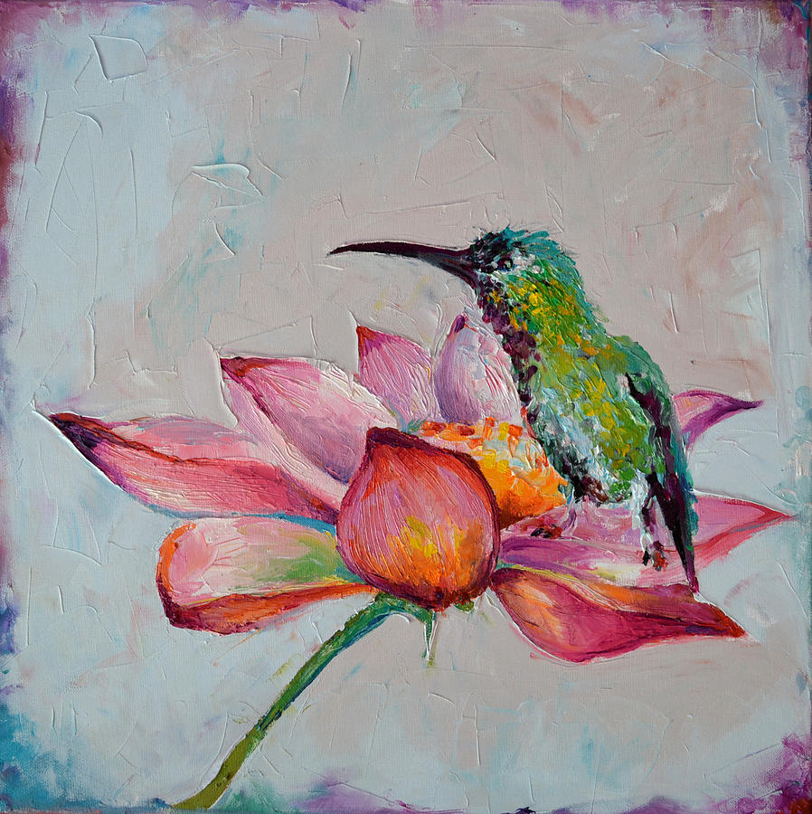 ZEN - Hummingbird on Lotus, Original Floral Oil Painting ...