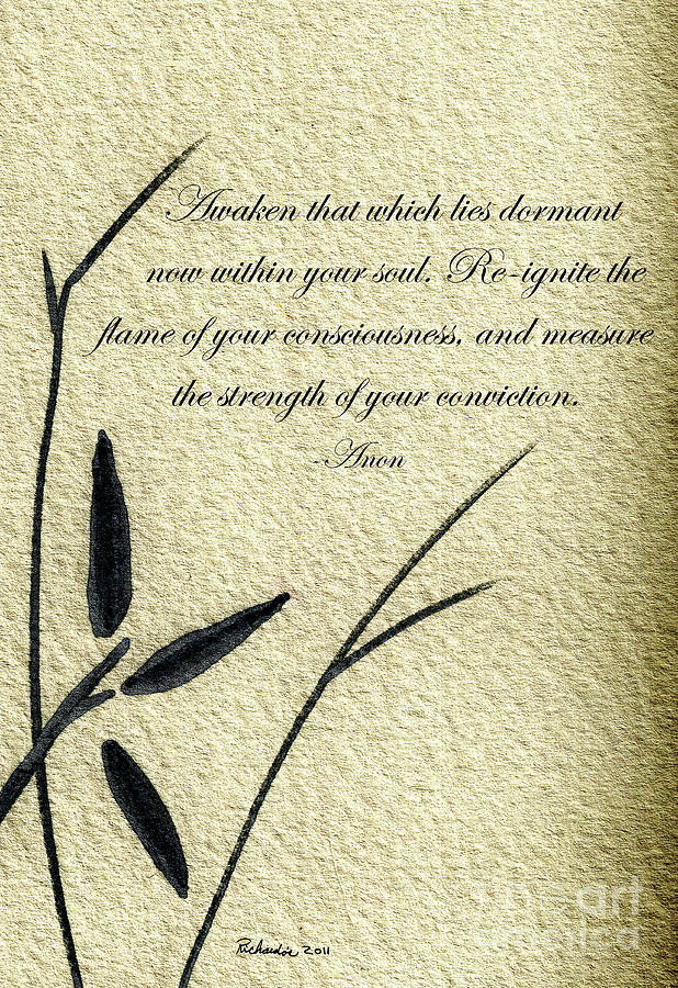 Zen Sumi 4f Antique Motivational Flower Ink Ricardos Mixed Media by Ricardos Creations