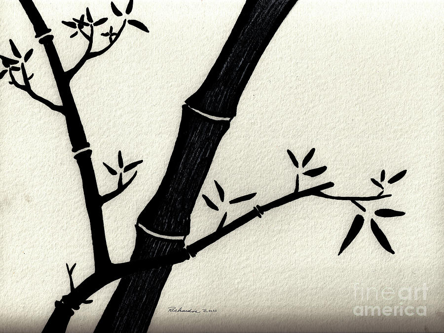 Abstract Drawing - Zen Sumi Antique Bamboo 2a Black Ink On Fine Art Watercolor Paper By Ricardos by Ricardos Creations