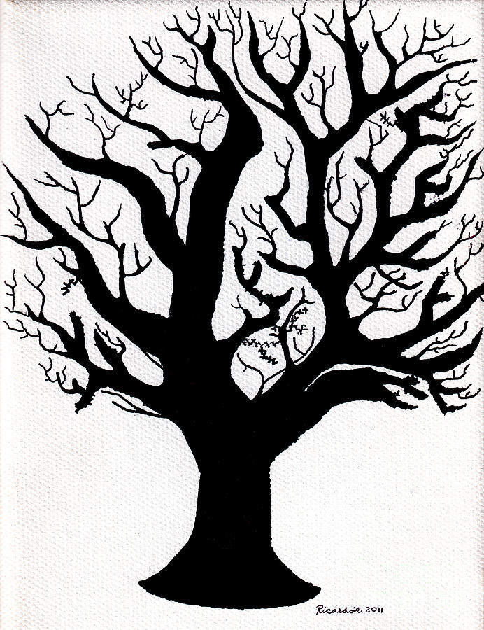 Abstract Mixed Media - Zen Sumi Tree Of Life Enhanced Black Ink On Canvas By Ricardos by Ricardos Creations