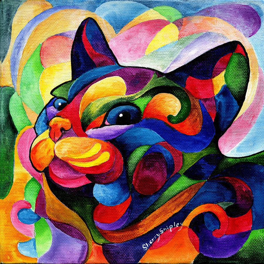 Cat Painting - Zen Ziggy by Sherry Shipley