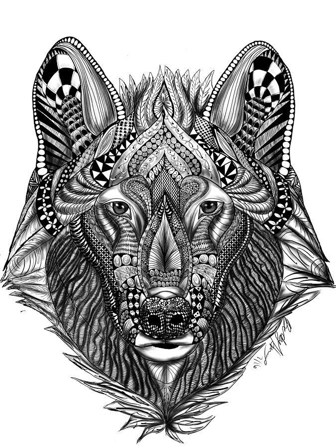 Zendoodle Wolf Drawing By Becky Herrera