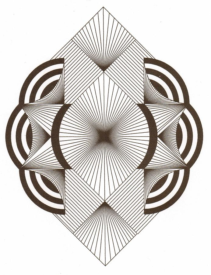 Zentangles Drawing - Zentangle Ala Art Deco by Marguerite Meara