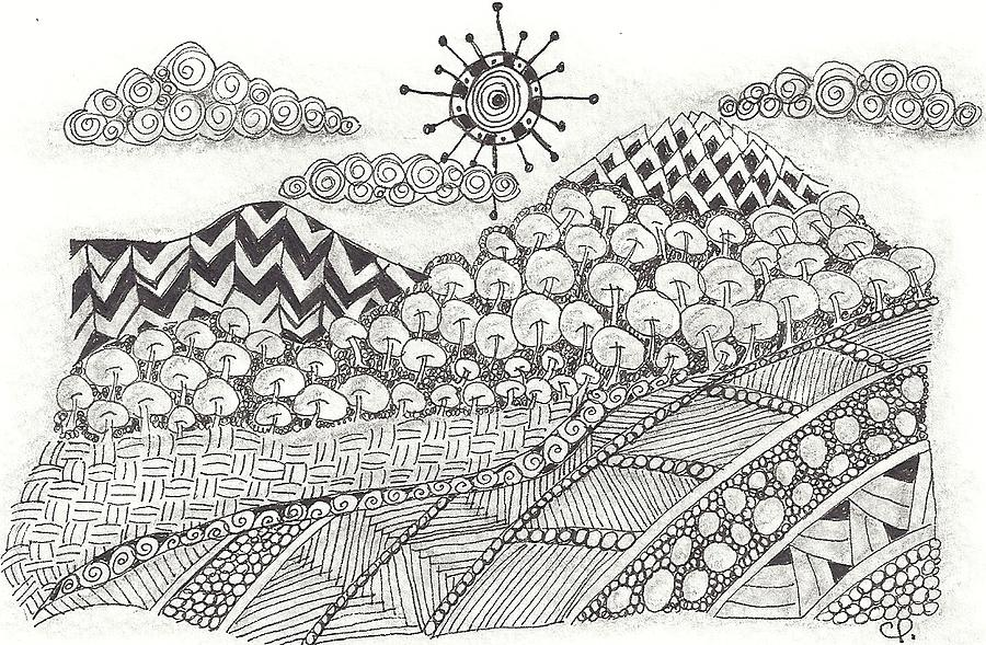abstract landscape drawing zentangle inspired abstract landscape by ceil petrucelli