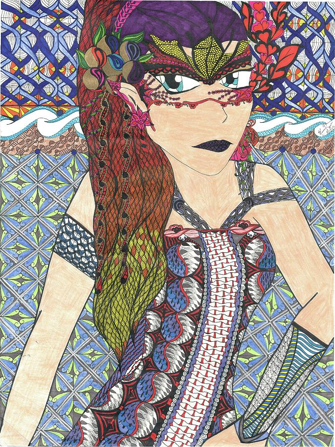 Zentangle Drawing - Zentangle Queen  by Mamm Mamm