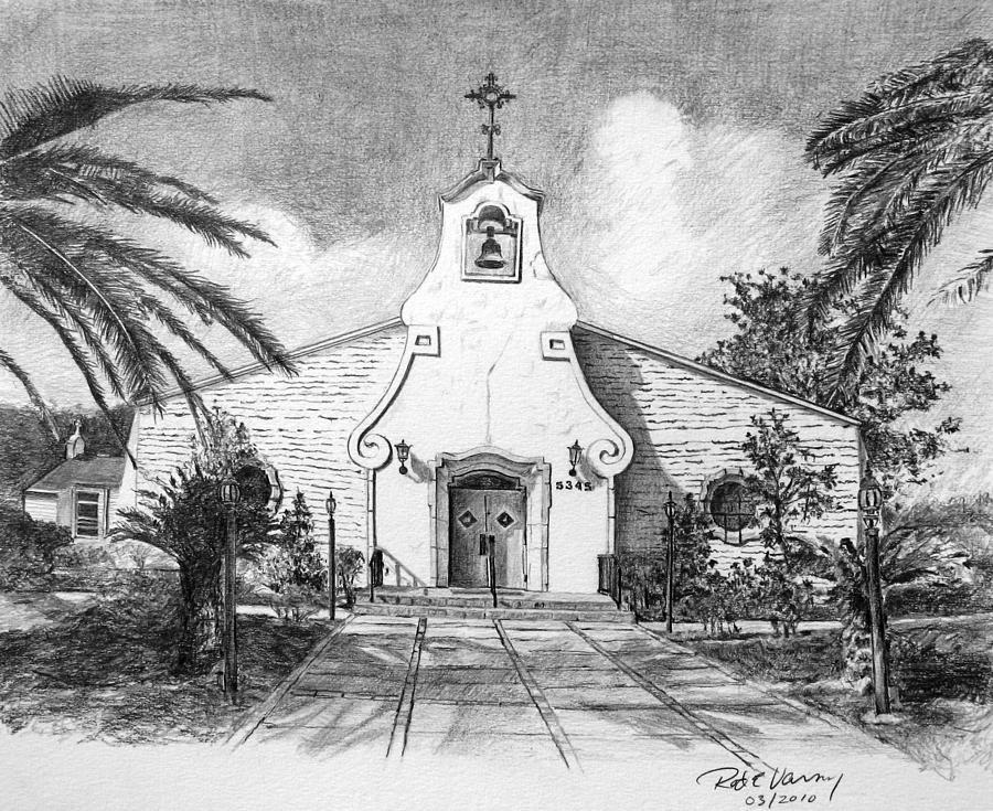 Landscape Drawing - Zephyrhills Catholic Church by Rod Varney