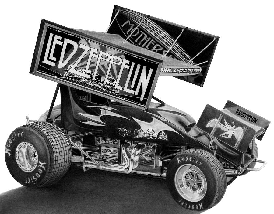 Racing Drawing - Zeppelin Sprinter by Lyle Brown