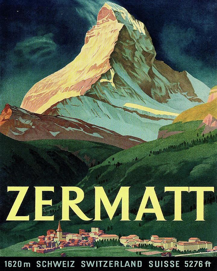 Zermatt Painting - Zermatt, Mountain Peek, Switzerland by Long Shot