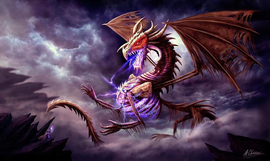 Dragon Digital Art - Zerolios - Bone Lighting Dragon by Anthony Christou