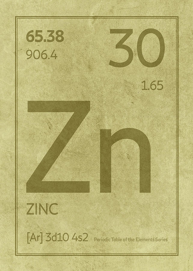 Zinc Element Symbol Periodic Table Series 030 Mixed Media By Design