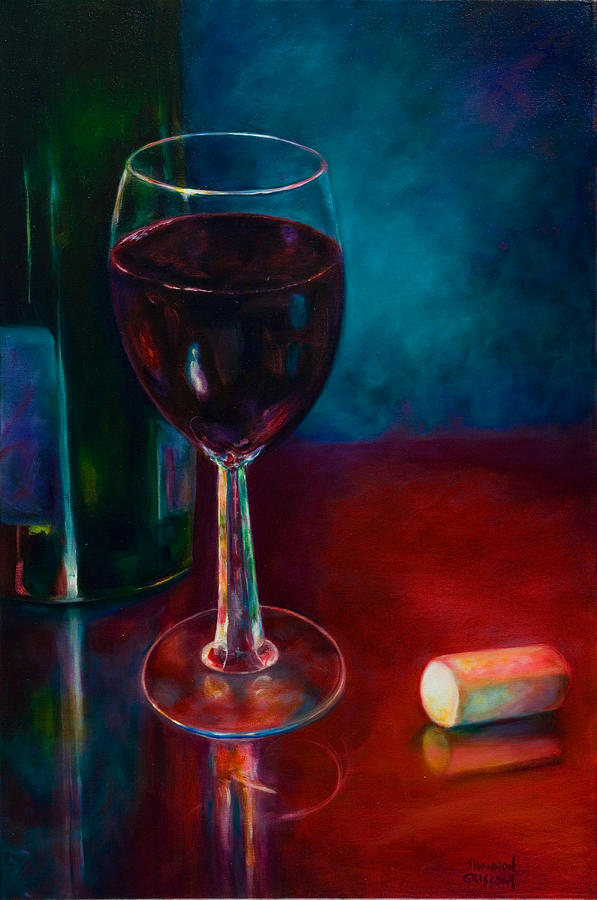 Wine Bottle Painting - Zinfandel by Shannon Grissom